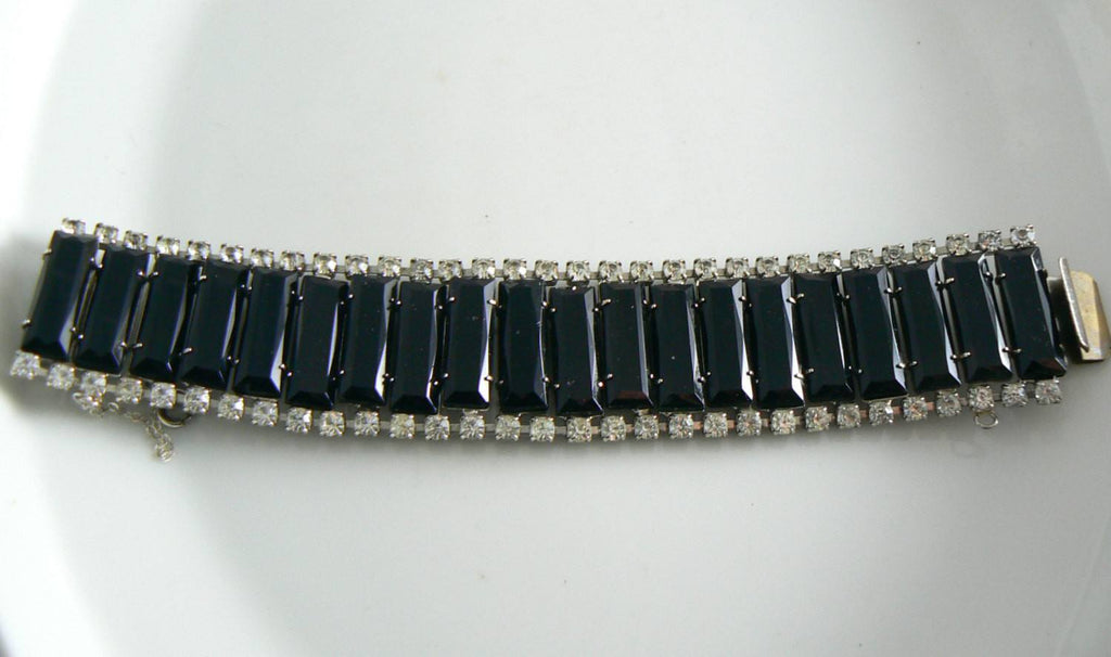 Vintage Black Glass And Crystal Rhinestone Bracelet - Vintage Lane Jewelry
