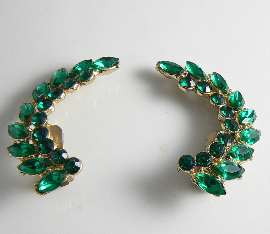 Vintage Green Rhinestone Ear Climber Clip Earrings - Vintage Lane Jewelry