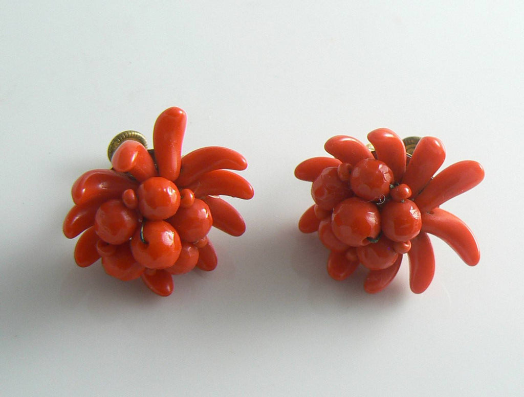 Vintage West Germany Red Glass Screw Back Earrings - Vintage Lane Jewelry
