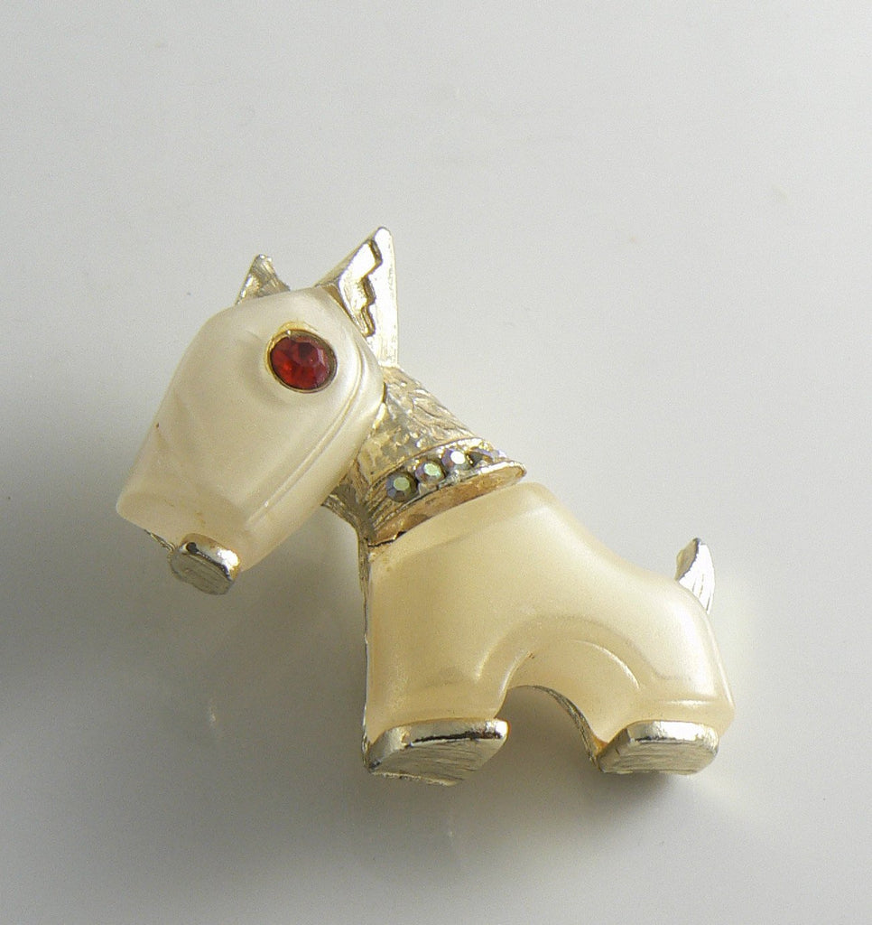 Vintage Hattie Carnegie Primitives On Parade Frosted Glass Dog Brooch - Vintage Lane Jewelry