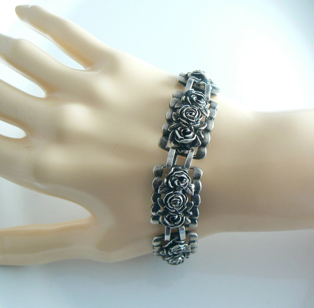 Gorgeous Sterling Silver Flower Art Deco Bracelet - Vintage Lane Jewelry