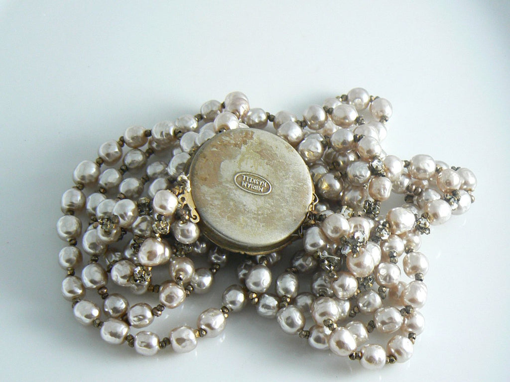 Miriam Haskell Baroque Pearl And Rosette 3 Strand Necklace - Vintage Lane Jewelry