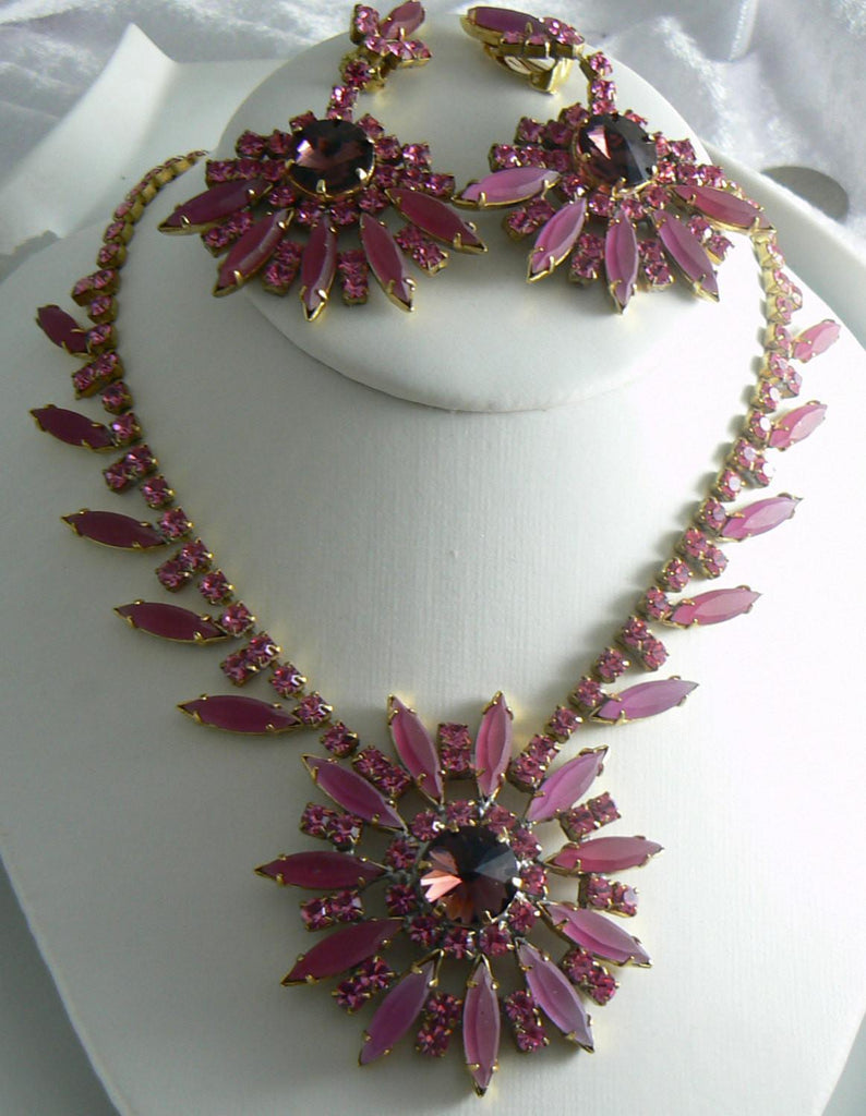 Husar D.  Mauve Czech Glass Rhinestone Necklace And Earring Set - Vintage Lane Jewelry