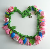 Pink And Blue Retro Enamel Plastic Flower Charm Necklace - Vintage Lane Jewelry