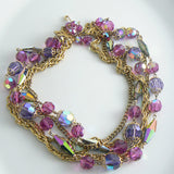 Vintage Colorful Hot Pink And Purple Crystal Multi-strand Necklace - Vintage Lane Jewelry