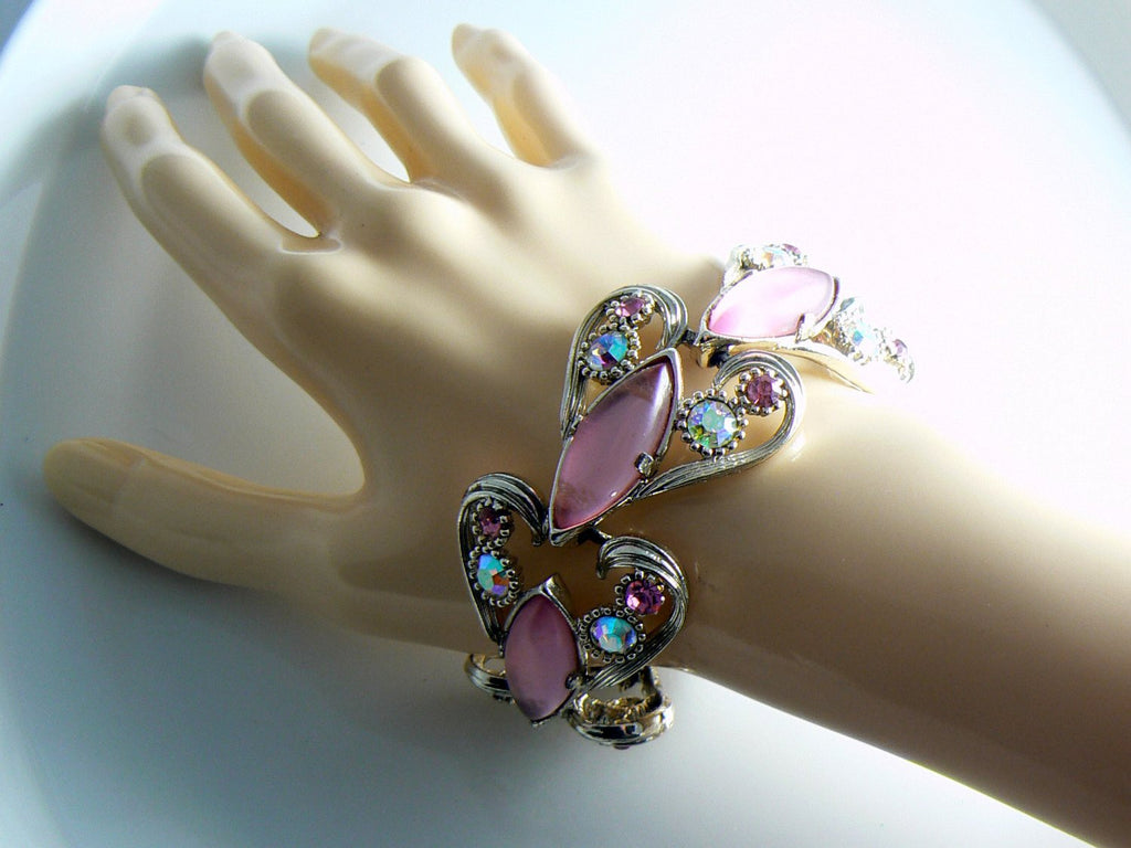 Rhinestone Pink Lucite Selro Bracelet Earrings - Vintage Lane Jewelry