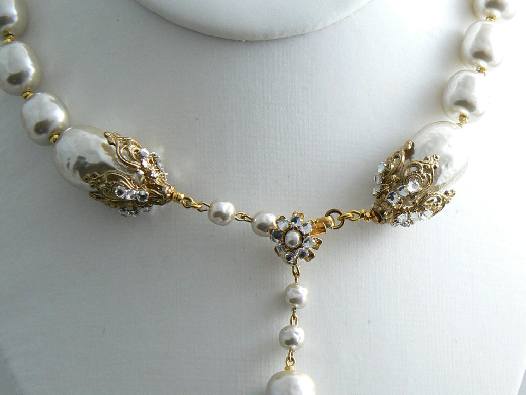 Huge Signed Miriam Haskell Necklace Pear-Shape Baroque Pearls with rhinestones - Vintage Lane Jewelry