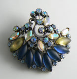Florenza Blue, Satin and Sparkling AB Demi Parure - Vintage Lane Jewelry