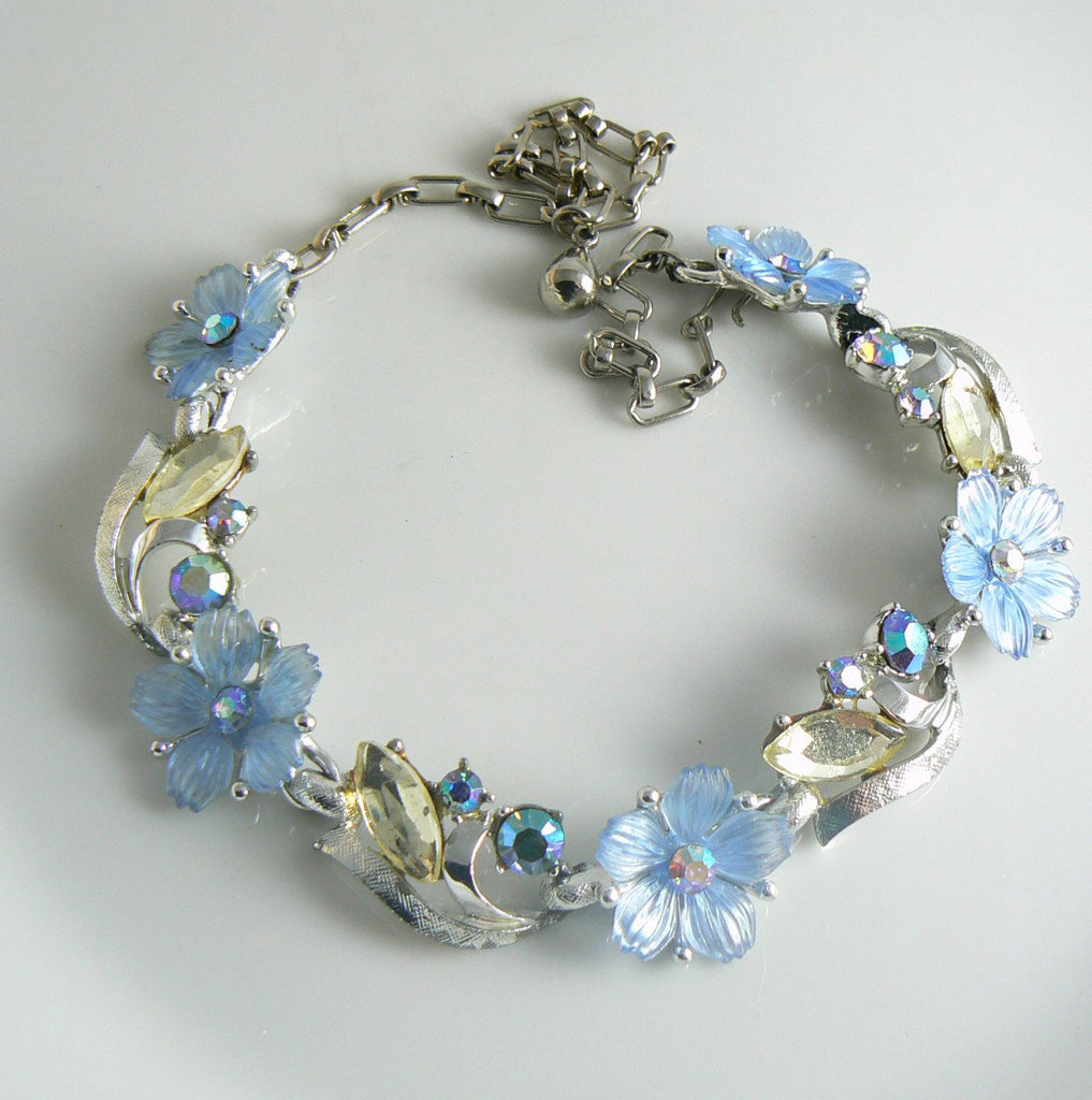 Blue Lucite Rhinestone Flower Necklace - Vintage Lane Jewelry