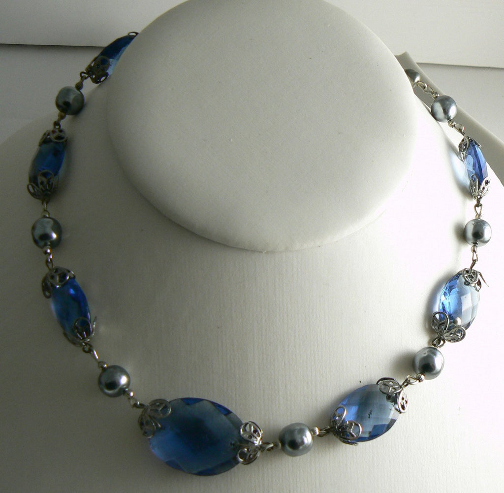 Miriam Haskell Blue Glass Silver Baroque Pearl Necklace - Vintage Lane Jewelry