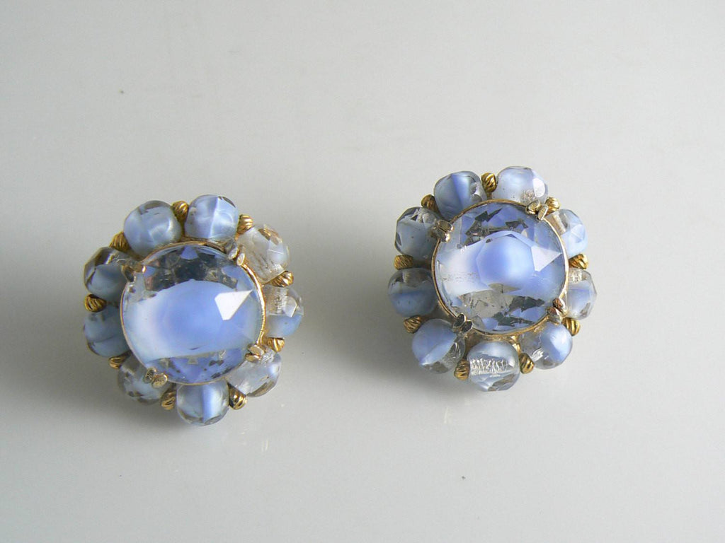 Blue Givre Glass Stone Hattie Carnegie Clip Earrings - Vintage Lane Jewelry