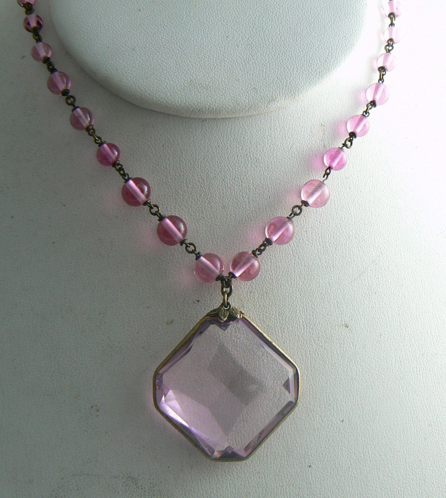 Czech Graduated Bead Necklace Pink Faceted Glass Pendant - Vintage Lane Jewelry
