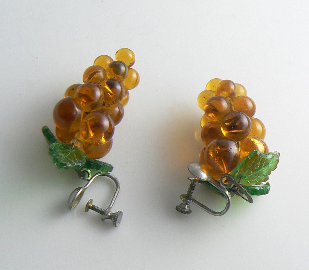 Vintage Amber Glass Grapes and Leaves Earrings - Vintage Lane Jewelry