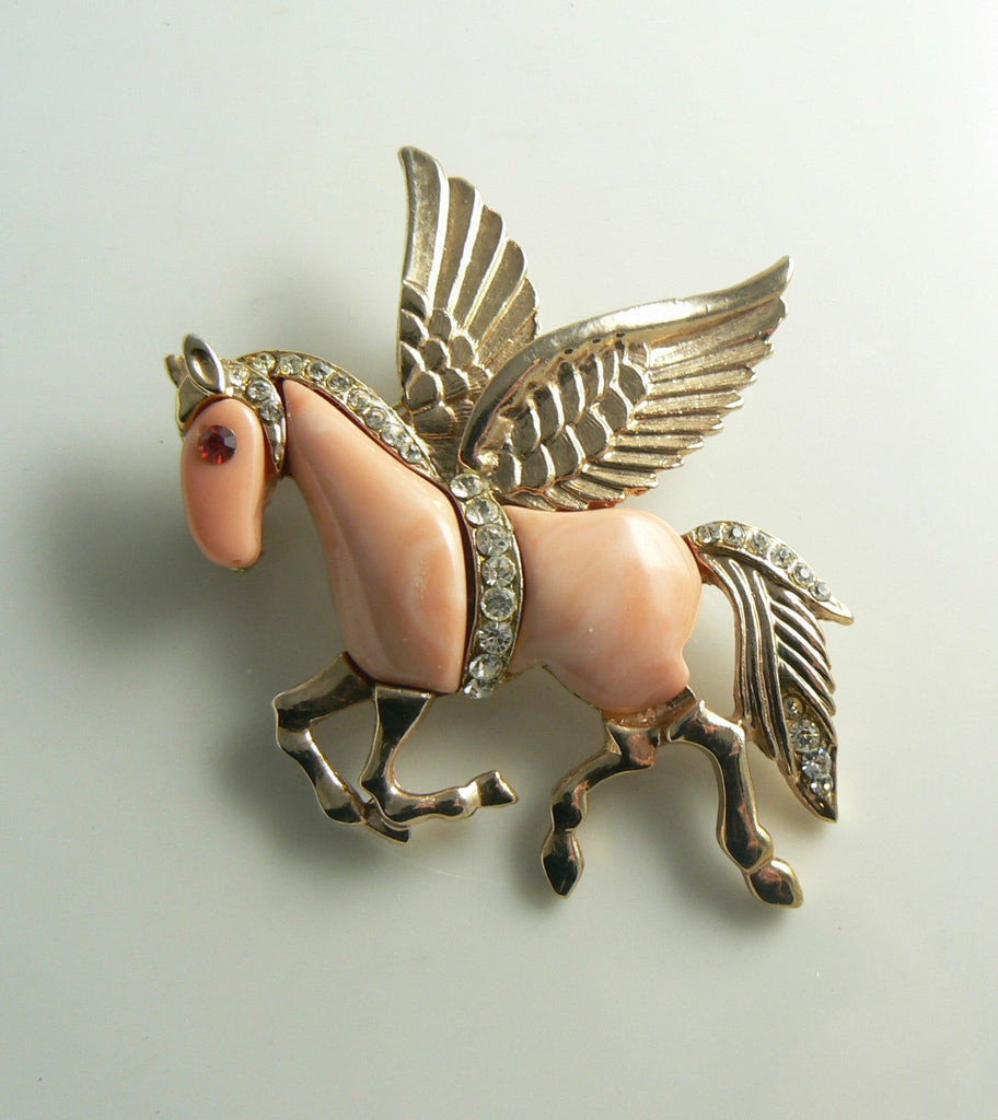 Peach Lucite Pegasus Horse Brooch - Vintage Lane Jewelry