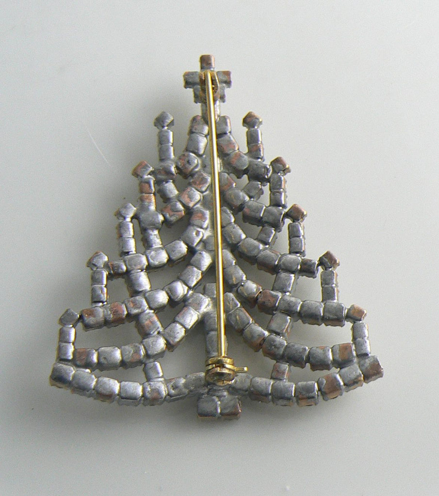 Czech Glass Christmas Tree Brooch - Vintage Lane Jewelry