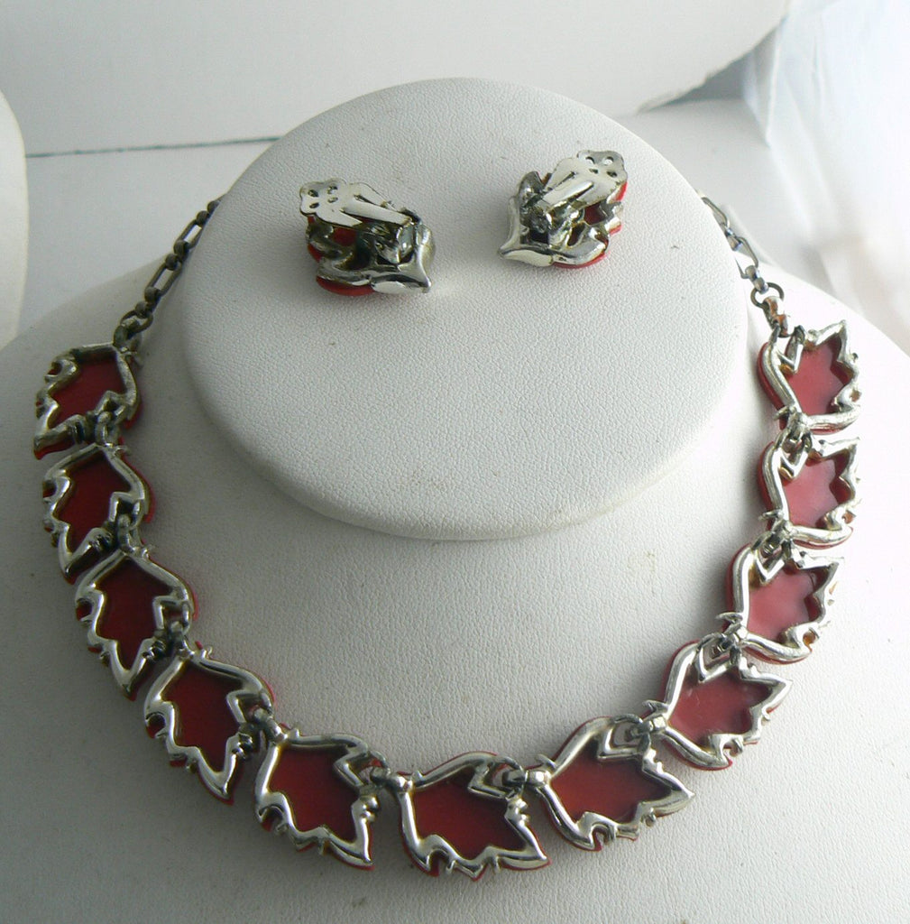 Vintage Red Thermoset Leaves Necklace Earring Set - Vintage Lane Jewelry