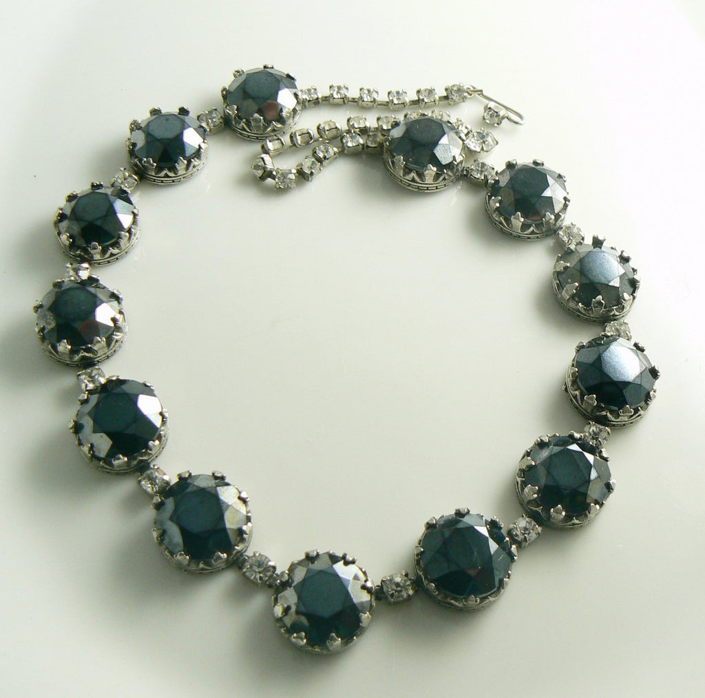 Vintage Black Faceted Glass Necklace with rhinestones - Vintage Lane Jewelry