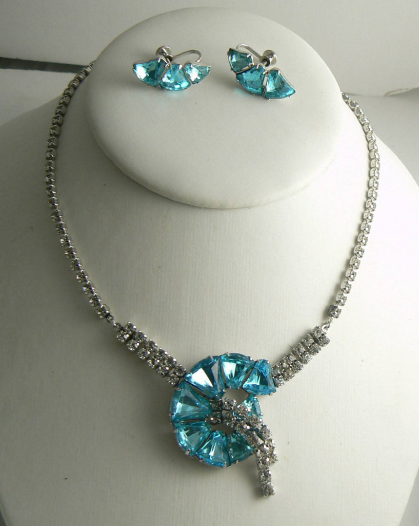 Clear and Aqua Rhinestone Vintage Necklace and Earrings - Vintage Lane Jewelry