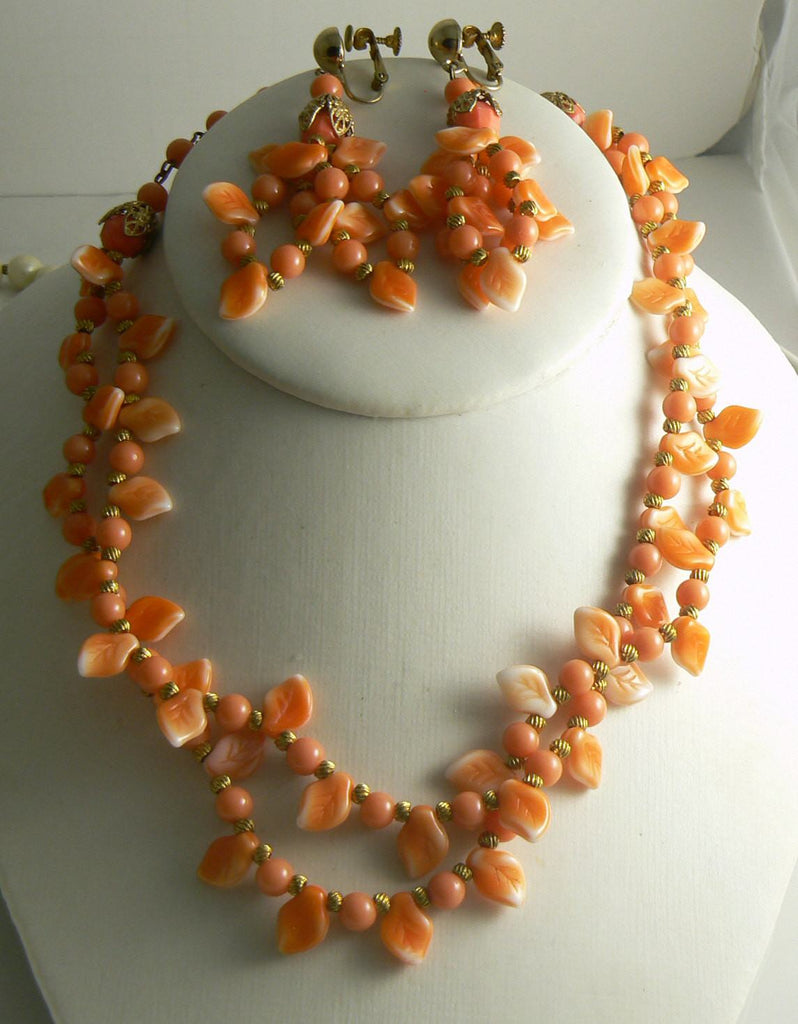 Miriam Haskell Coral Colored Leaves Necklace Earring Set - Vintage Lane Jewelry