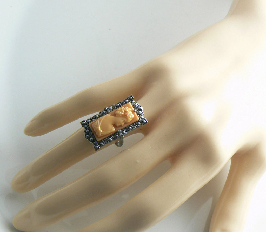Gorgeous Marcasite & Coral Cameo Vintage Signed Ring - Vintage Lane Jewelry