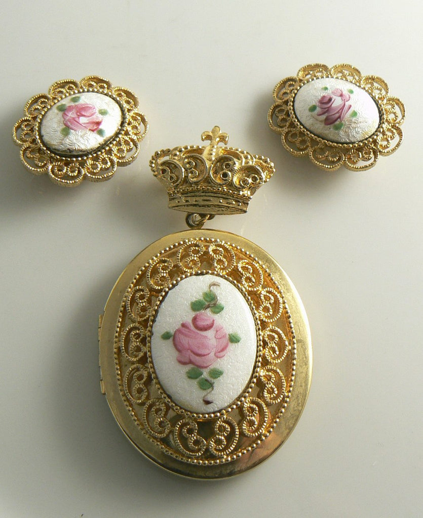 Guilloche Pink Rose Enamel Locket Pin & Earring Set - Vintage Lane Jewelry