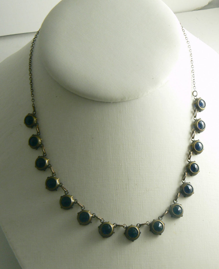 Art Deco Deep Sapphire Blue Faceted Glass Necklace - Vintage Lane Jewelry