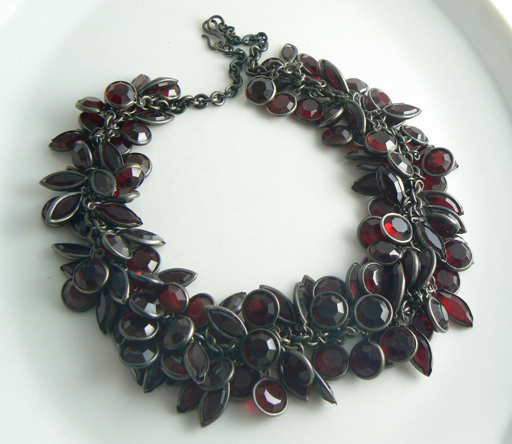 Garnet Red Glass Crystal Cluster Charm Necklace - Vintage Lane Jewelry