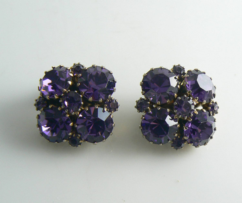 Weiss Purple Rhinestone Flower Earrings - Vintage Lane Jewelry