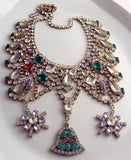 Czech Glass Statement Christmas Necklace - Vintage Lane Jewelry