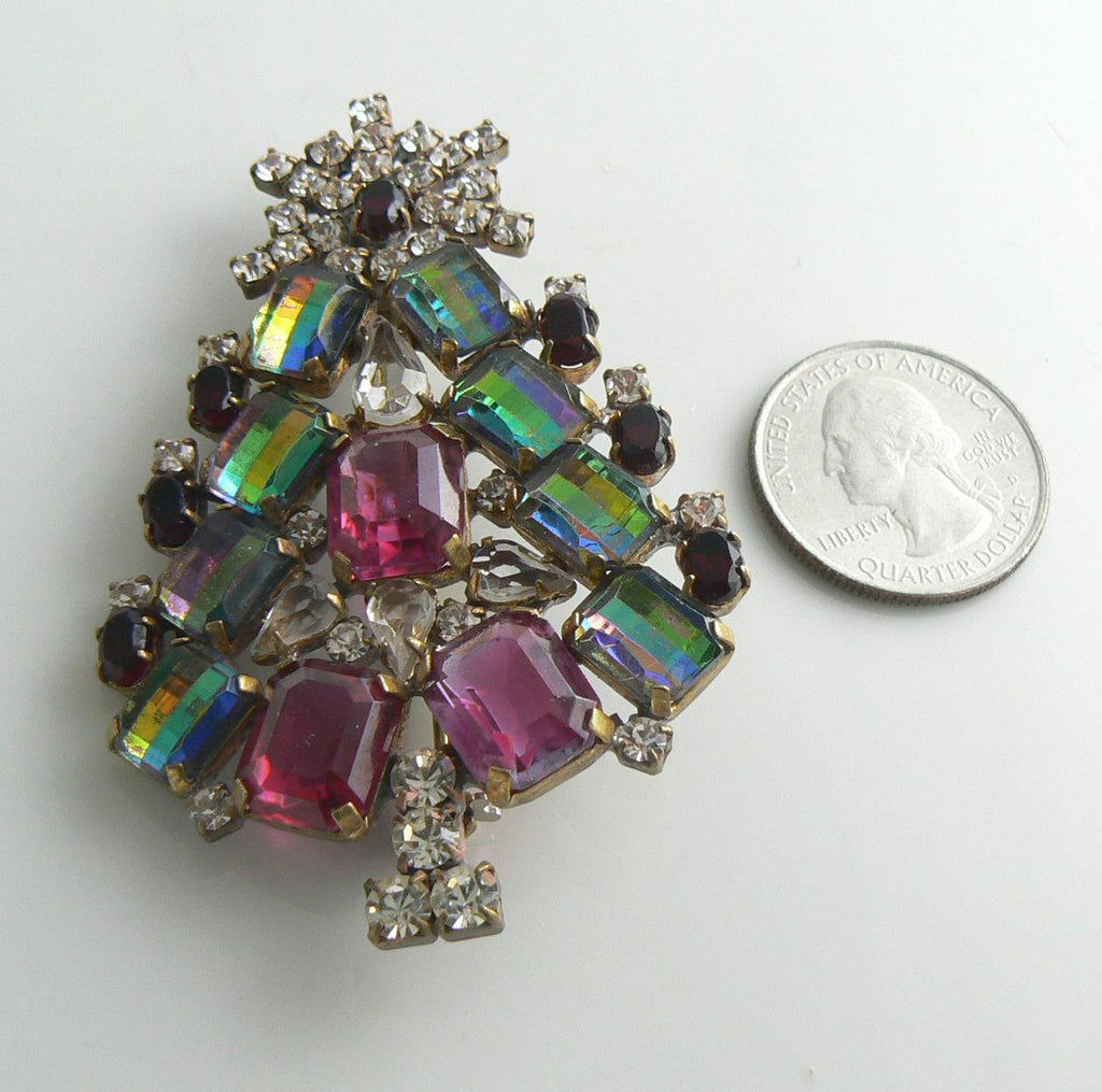 Christmas Tree Pin Czech Glass Husar D - Vintage Lane Jewelry