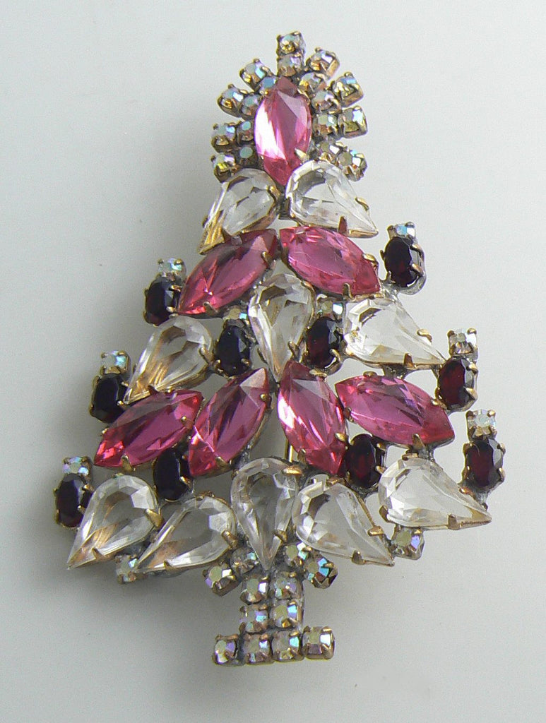 Czech Glass Husar D Pink and Clear Christmas Tree Pin - Vintage Lane Jewelry