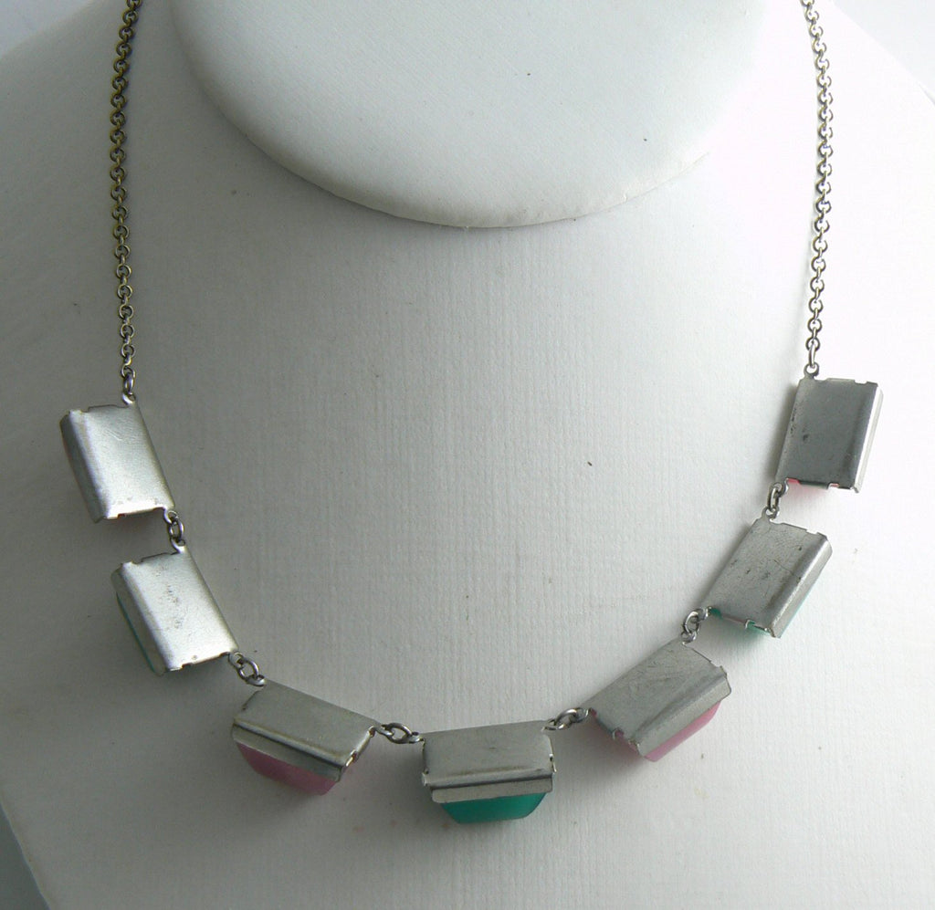 Art Deco Pink Green Chryosprase Glass Sugarloaf Silver Necklace - Vintage Lane Jewelry