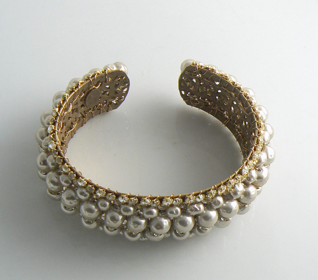 Miriam Haskell Baroque Pearl and Rhinestone Cuff Bracelet - Vintage Lane Jewelry