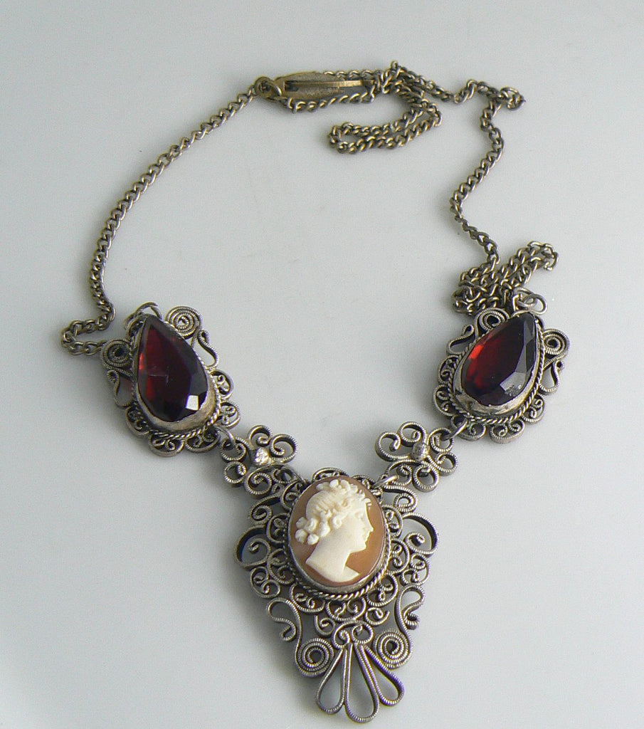 Filigree Shell Cameo Necklace With Ruby Glass Stones - Vintage Lane Jewelry