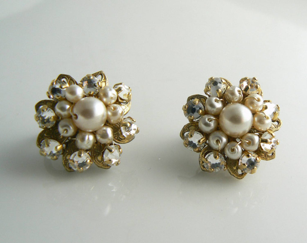 Miriam Haskell Glass Pearl and Rose Montee Earrings - Vintage Lane Jewelry