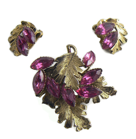 Grapes Forbidden fruit Lucite and rhinestone demi parure, clip earrings