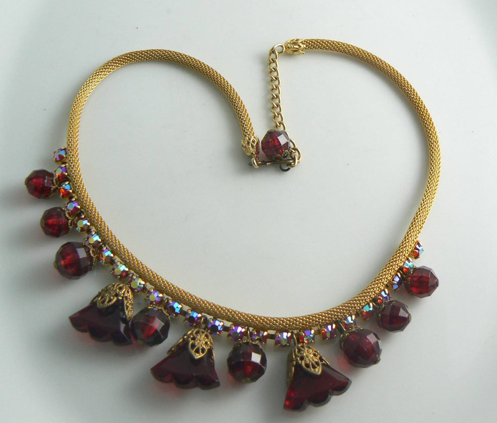 Juliana Golden Mesh Red Rhinestone Dangling Bead Vintage Necklace, Book Piece - Vintage Lane Jewelry