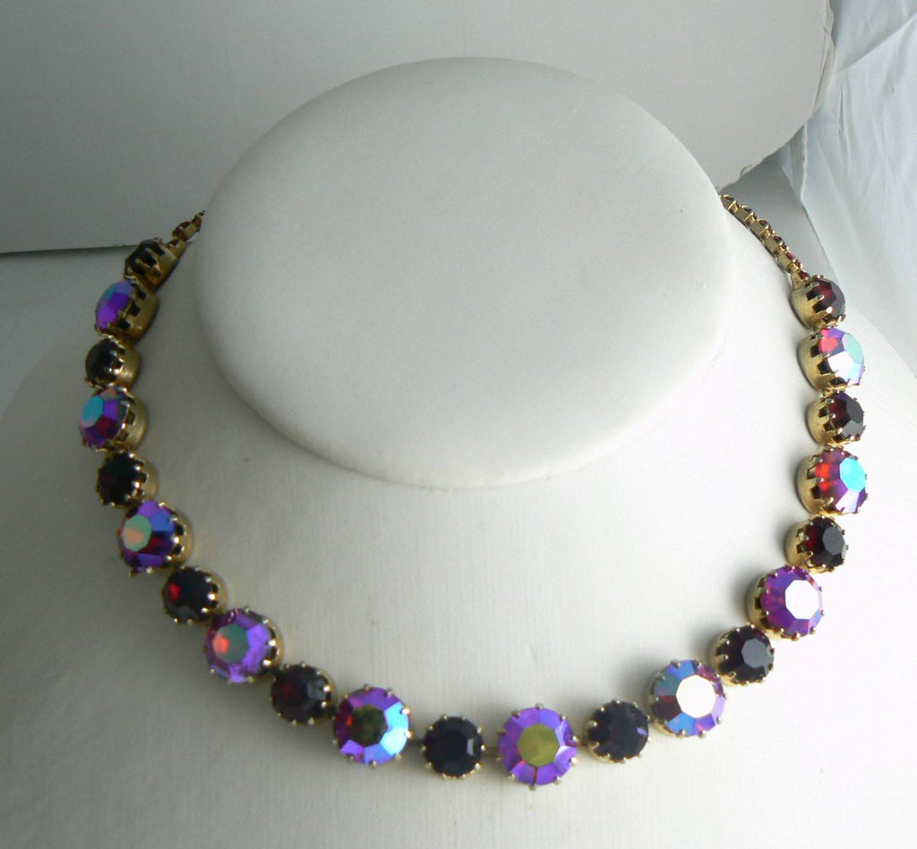 Vintage Karu Arke Multicolored Rhinestone Necklace - Vintage Lane Jewelry