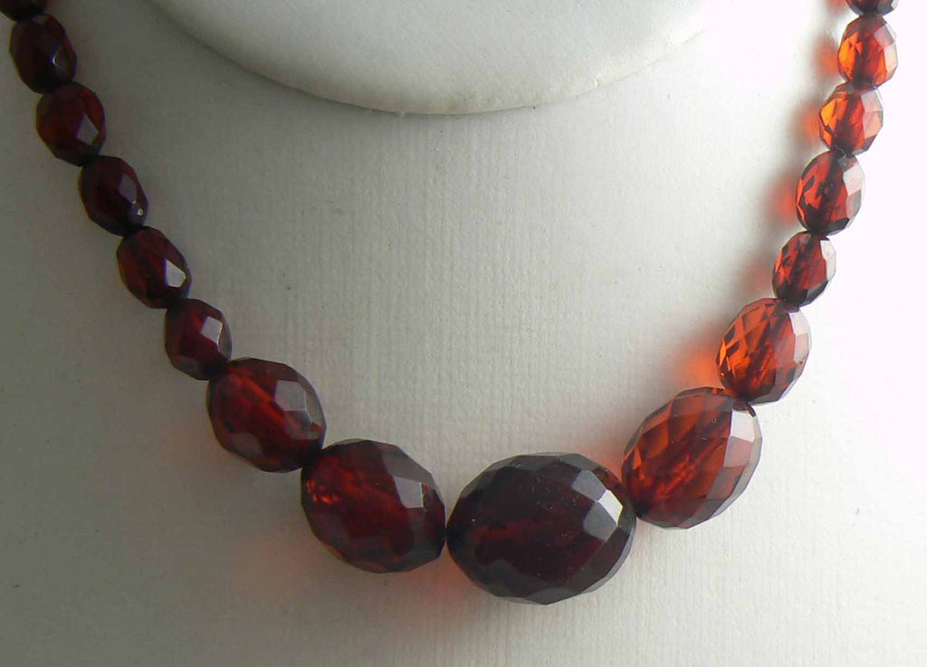 Antique Vintage Cherry Amber Bakelite Art Deco Faceted Necklace - Vintage Lane Jewelry