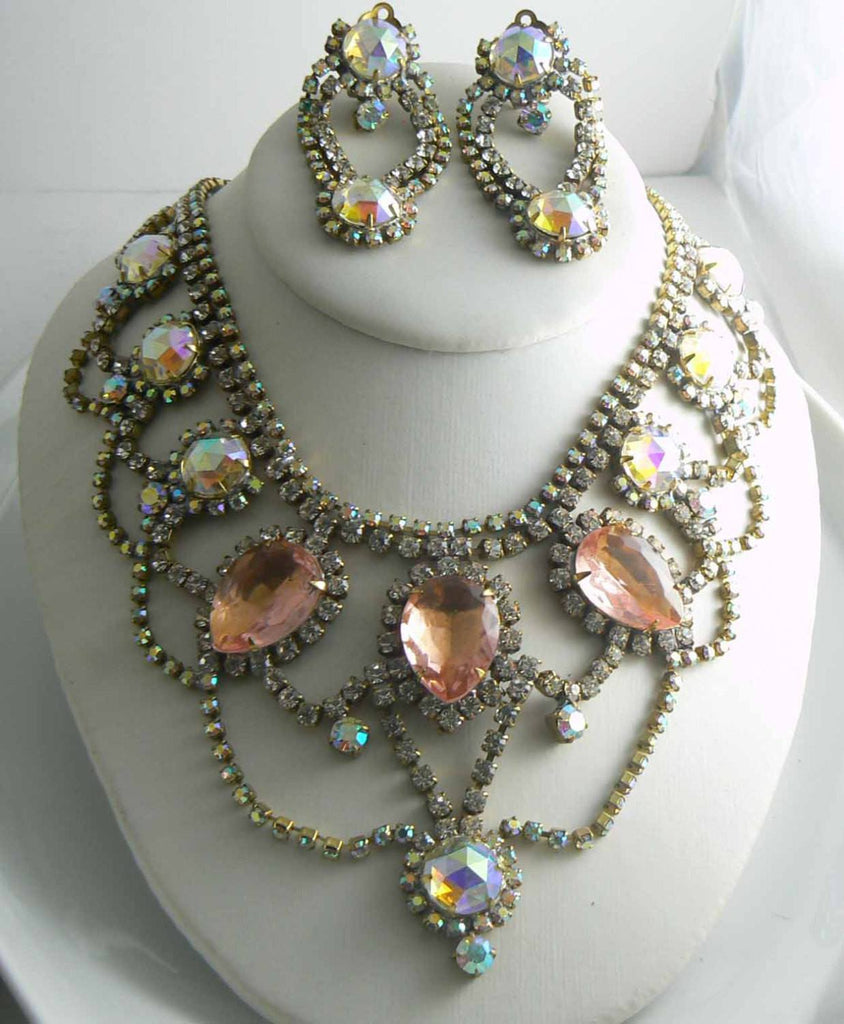 Czech Glass Statement Peach AB Necklace Earrings - Vintage Lane Jewelry