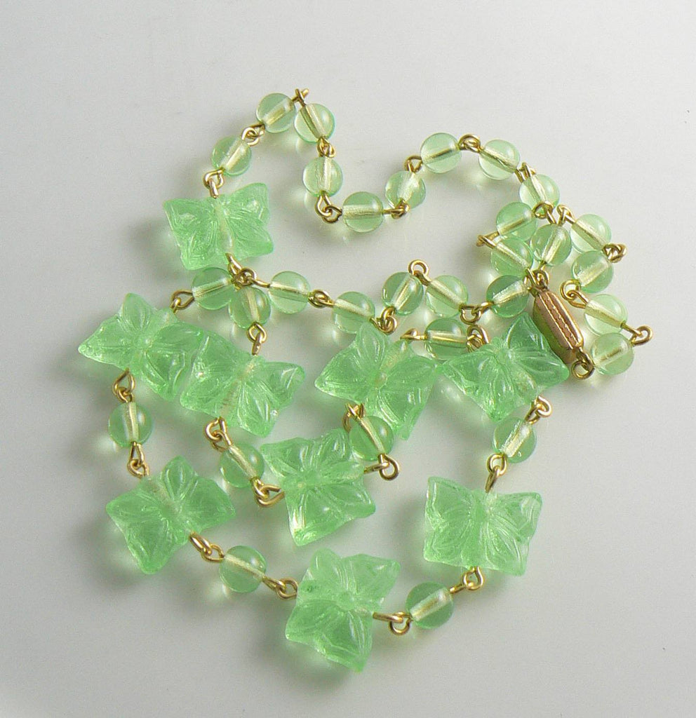 Czech Glass Vaseline Uranium Glass Butterfly Necklace - Vintage Lane Jewelry