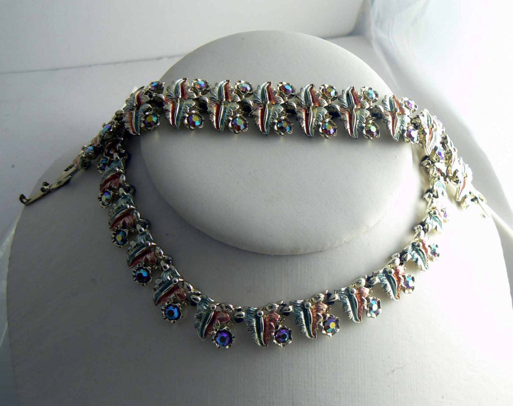Vintage Copper Green Enamel Rhinestone Necklace and Bracelet Set - Vintage Lane Jewelry