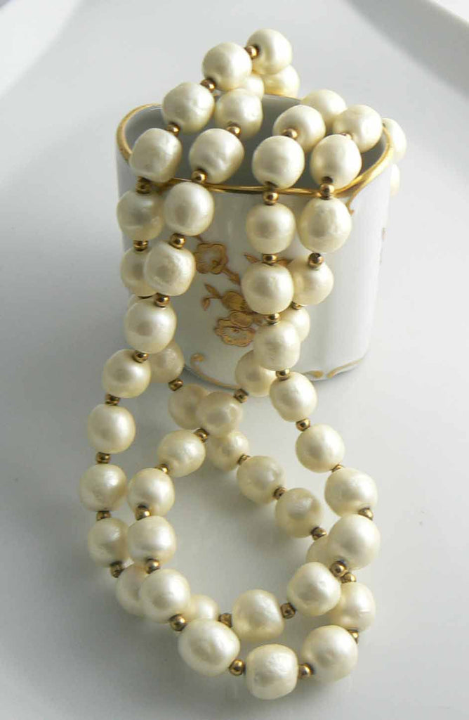 Miriam Haskell 2 Strand Baroque Pearl Necklace - Vintage Lane Jewelry
