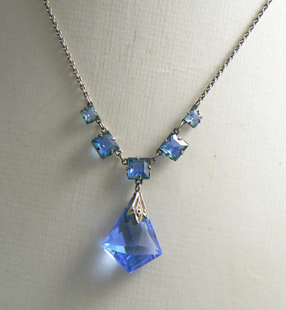 Art Deco Platinin Sapphire Glass Open Back Drop Pendant - Vintage Lane Jewelry
