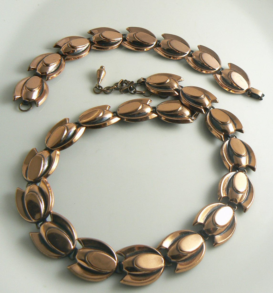 Matisse Renoir Copper Tulip necklace and bracelet set - Vintage Lane Jewelry