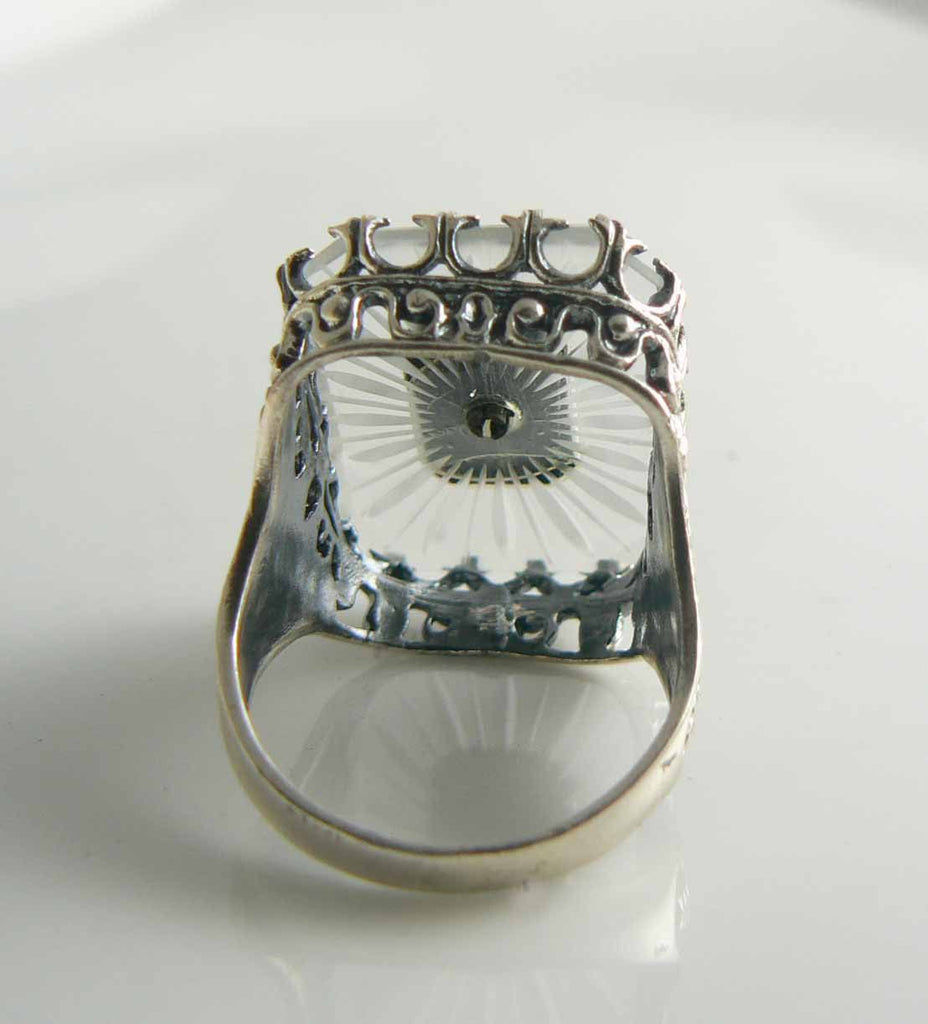 Vintage Camphor Glass Onyx Seed Pearl Ring - Vintage Lane Jewelry