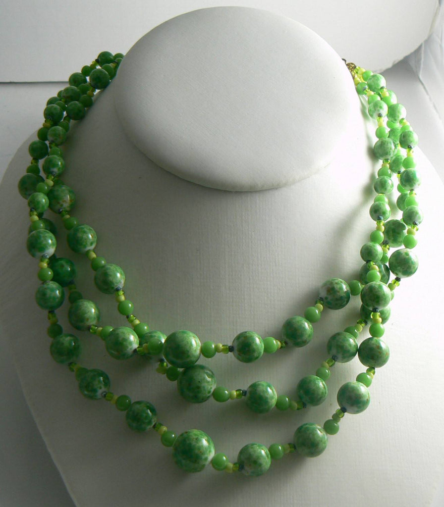 Miriam Haskell Green Mottled Glass Bead Necklace - Vintage Lane Jewelry