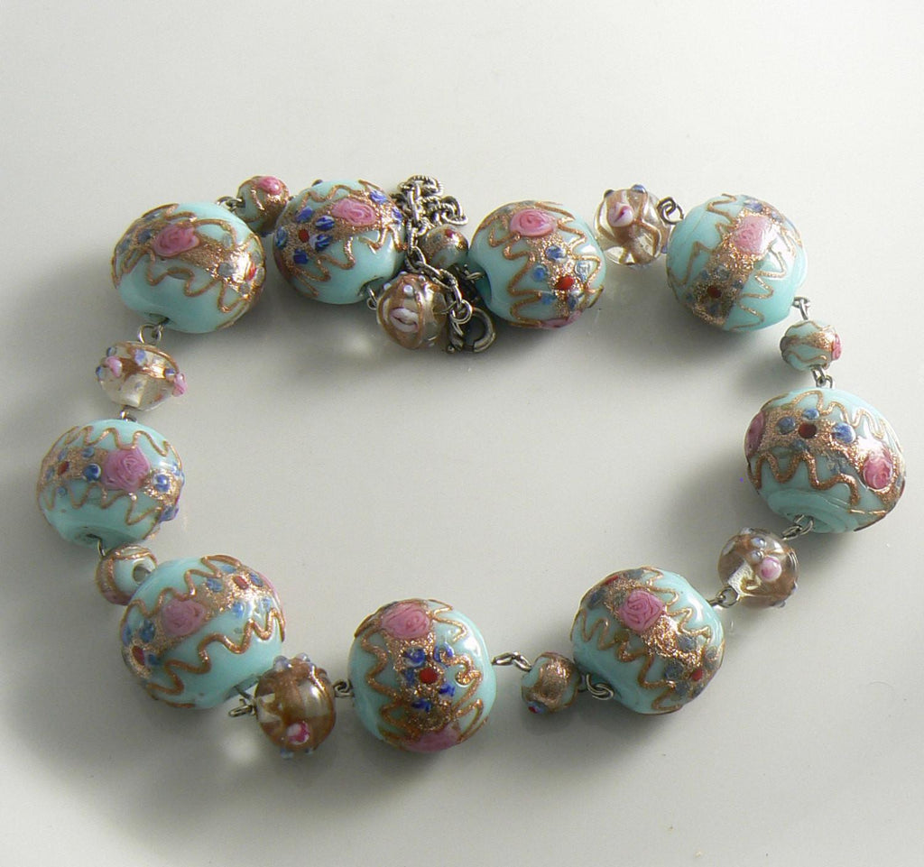 Vintage Robins Egg Blue Venetian Wedding Cake Bead Necklace - Vintage Lane Jewelry