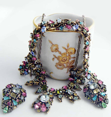 Miriam Haskell White Molded Ornate Floral Plastic Necklace and Clip Earrings
