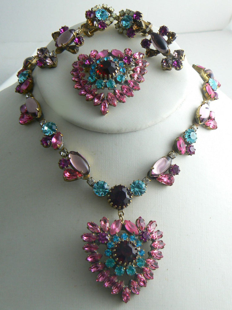 Czech Glass Heart Colorful Rhinestone Necklace Earrings and Brooch - Vintage Lane Jewelry